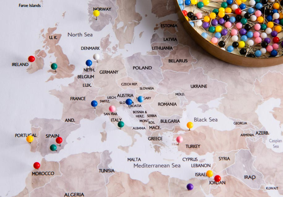 European map with pins