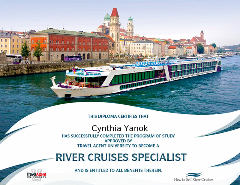 River Cruises Specialist certificate for Cynthia Yanok of Travelin' Along